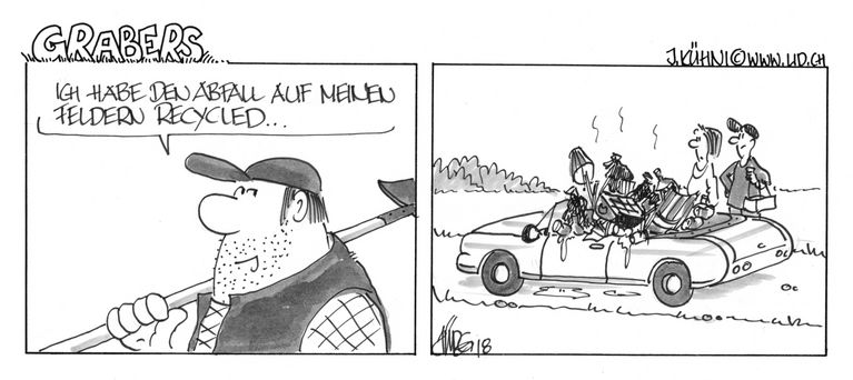 Cartoon Landwirtschaft Grabers Littering